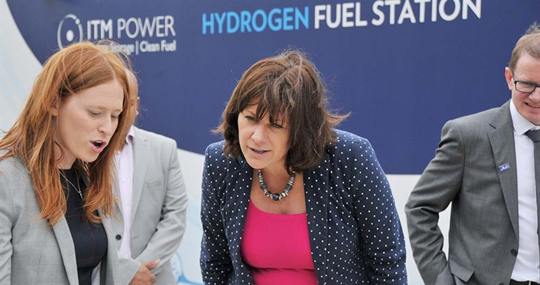 The Minister is shown a hydrogen refuelling station