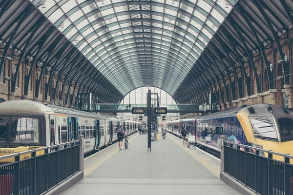 Two platforms at Kings Cross Station in London.