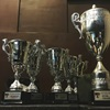 Several trophies stood by each-other in rows.