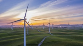 Group of wind turbines on rolling fields, with sun setting in background.